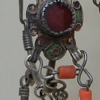 Moroccan enamel coral earrings