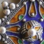 Moroccan silver enamel amulet