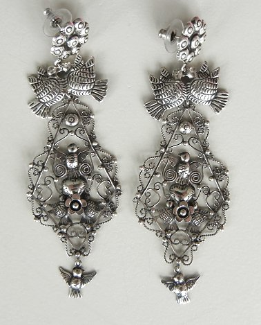 Here Is An Extra Tall Pair Of Silver Earrings From Artist In Taxco There A Pin Behind The Flower To Suspend Them Are 4 Inches And
